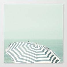 Parasol - Summer Beach Blue Stripes Photography Canvas Print