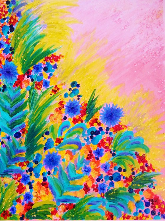 NATURAL ROMANCE in PINK - October Floral Garden Sweet Feminine Colorful Rainbow Flowers Painting Art Print