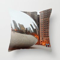 Chicago Bean - Big City Lights Throw Pillow