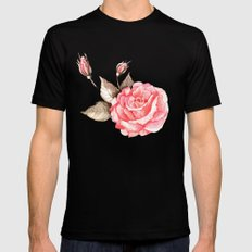 Watercolor rose Mens Fitted Tee SMALL Black