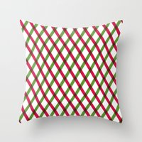 Holiday Ribbon Pattern Throw Pillow