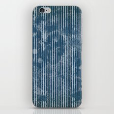 White stripes on grunge textured blue background iPhone & iPod Skin