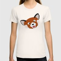 Red Panda Face Womens Fitted Tee Natural SMALL