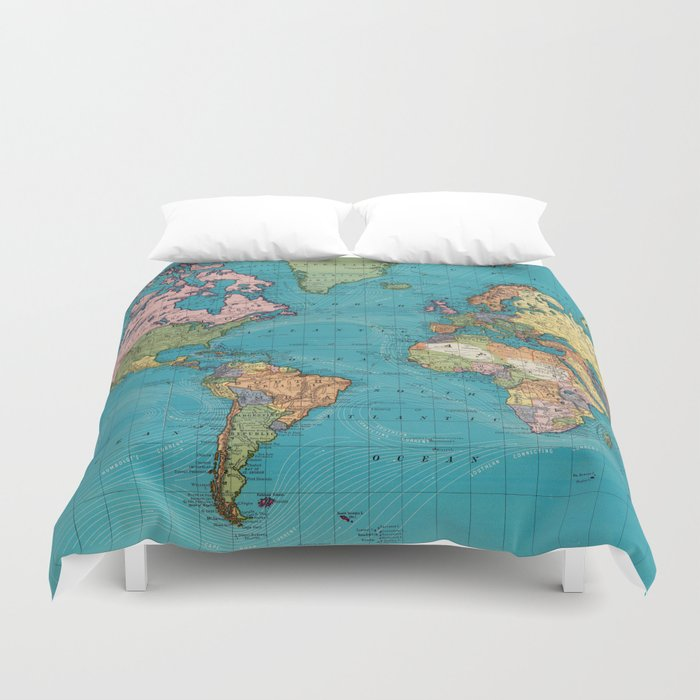 Vintage Map Of The World 1897 Duvet Cover By