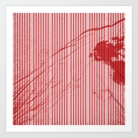 Red stripes on grunge pink background Art Print
