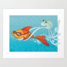 Goldfish & Octopus Art Print