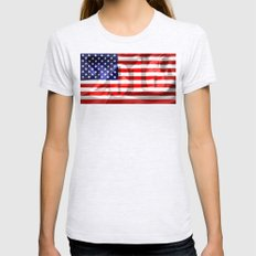 The Flag of the United States of America Womens Fitted Tee Ash Grey SMALL