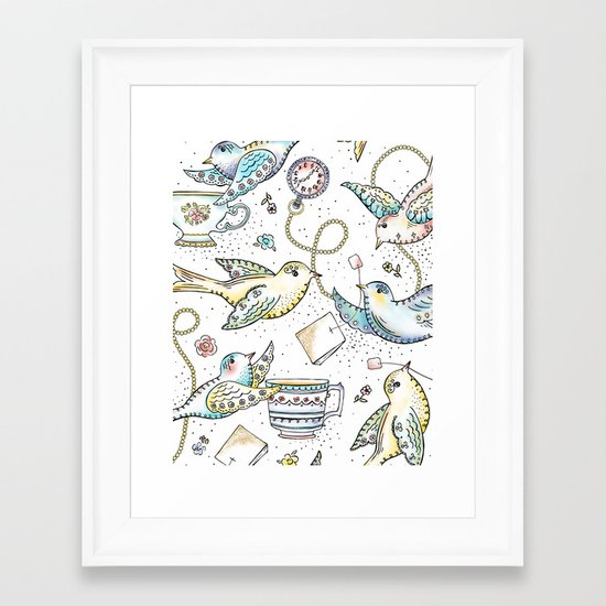 Twittering Tea Party Framed Art Print