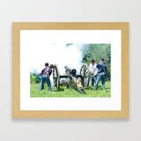 Civil War Era Canon Fire Framed Art Print