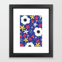 Betty Blue Floral Framed Art Print
