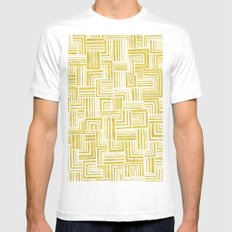 Golden Doodle weave Mens Fitted Tee SMALL White