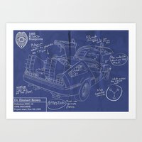 Time Machine Blueprint Art Print