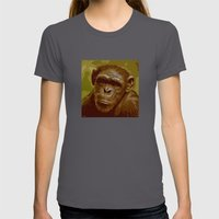 camo monkey! Womens Fitted Tee Asphalt SMALL