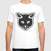 The Black Cat Mens Fitted Tee White SMALL