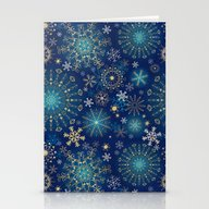 Blue Gold Snowflakes  Stationery Cards