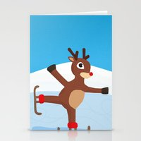 Rudolph Skating Stationery Cards