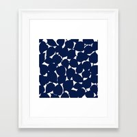 Apple Leaf: Navy Framed Art Print