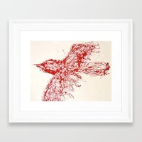 Crow, Red, Bird 2 Framed Art Print