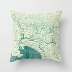 Melbourne Map Blue Vinta… Throw Pillow