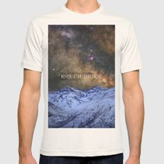 Never stop exploring mountains, space..... Mens Fitted Tee Natural SMALL