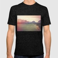 Retro Mountain Lake Mens Fitted Tee Tri-Black SMALL