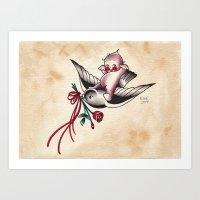 Kewpie on a Pigeon Art Print