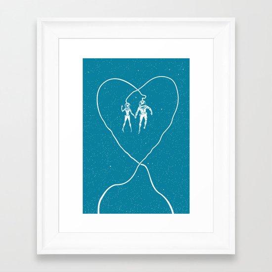 Love Space, Blue Framed Art Print