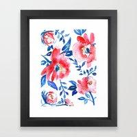 Peonies R+B Framed Art Print
