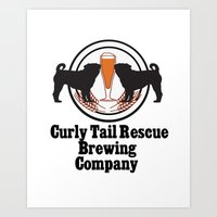 Curly Tail Rescue Beer P… Art Print