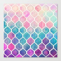 Canvas Print featuring Rainbow Pastel Watercolor Moroccan Pattern by micklyn