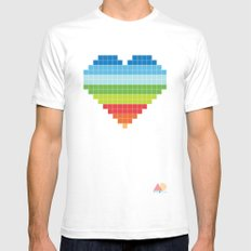 Pixelated Heart. Mens Fitted Tee White SMALL
