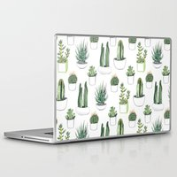 watercolour Laptop & iPad Skins featuring watercolour cacti and succulent by Vicky Webb