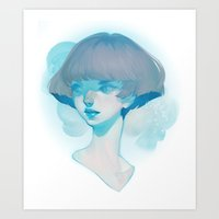 Visage - Blue Art Print