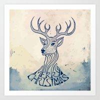 Reindeer Illustration -  Vintage Christmas Theme Art Print