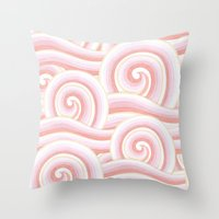 Pink Auspicious Waves Throw Pillow