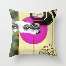 Play hide and seek with petit Nicola Throw Pillow