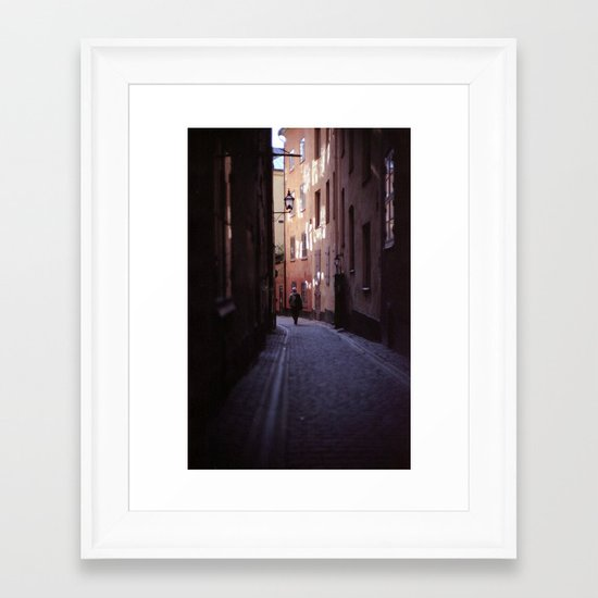 Stockholm Gamla Stan Alley Lonely Man Framed Art Print