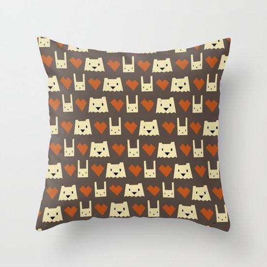 Yeti hearts bunny pattern Throw Pillow