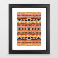 Navajo blanket pattern- orange Framed Art Print