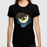 Sleeping Panda on the Moon Womens Fitted Tee Black SMALL