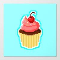 Pixel Cupcake Canvas Print