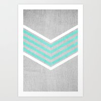 teal Art Prints featuring Teal and White Chevron on Silver Grey Wood by Tangerine-Tane