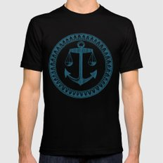 Anchor & Scales Black Mens Fitted Tee SMALL