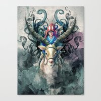 Ashitaka Demon Watercolo… Canvas Print