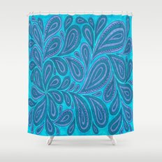 Blue and Blue Shower Curtain