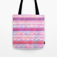 Pink purple watercolor hand drawn aztec pattern  Tote Bag