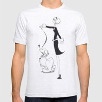 Woman Walking Her Dog Mens Fitted Tee Ash Grey SMALL
