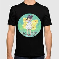 Butterfly Girl Mens Fitted Tee Black SMALL