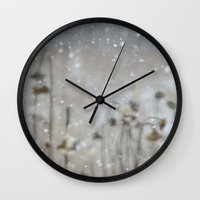 Sunflowers In The Snow Wall Clock