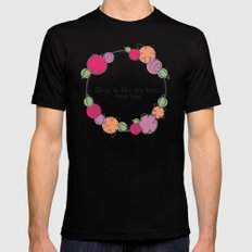 Floral - Drop It Black Mens Fitted Tee SMALL